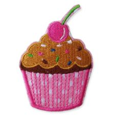 PINK CHERRY CUPCAKE MOTIF IRON ON EMBROIDERED PATCH APPLIQUE